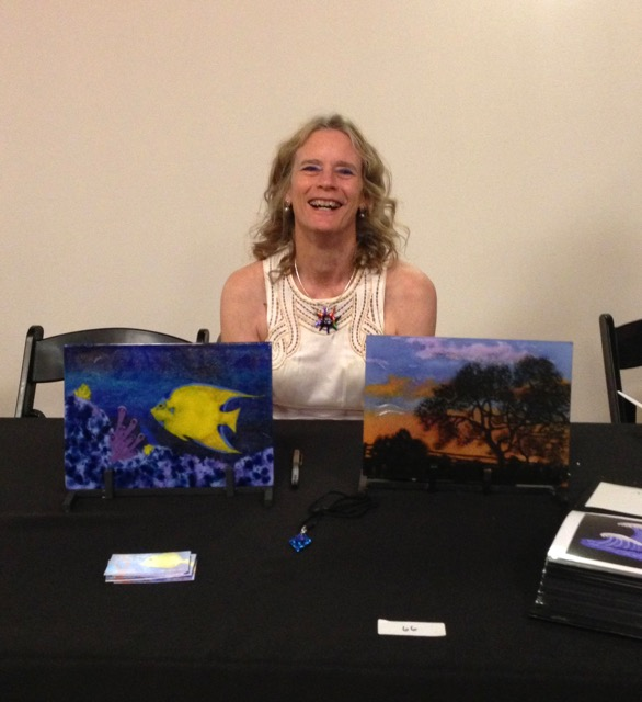 """Charity Auction Display, Melissa and her glass art at """"Art in the Dark"""" 2015 charity Auction, sponsored by The San Antonio Lighthouse for the Blind"""