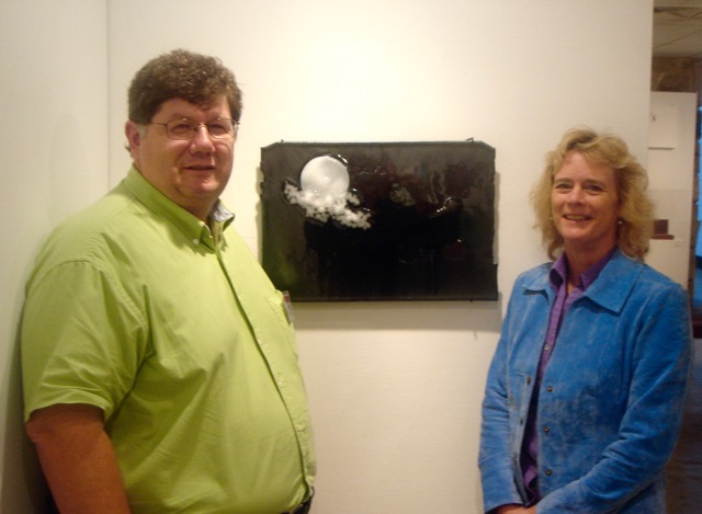 """Competition Photo, """"Auspicious at Midnight"""" Childers glass art , Melissa with Brad Walker at Arrowmont Ignite competition 2006 – Version 5"""
